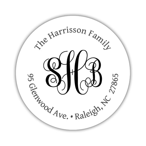 Round return address labels 'Monogrammed Perfection' - Black - Dazzling Daisies
