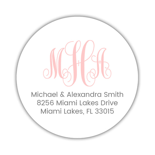 Round monogram return address labels - Blush - Dazzling Daisies