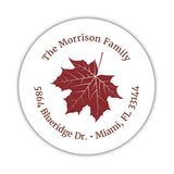 Round return address labels 'Fall Leave' - Maroon - Dazzling Daisies