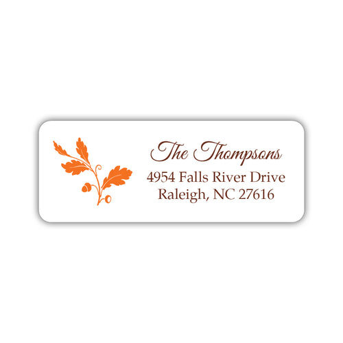 Fall address labels 'Acorn' - Orange - Dazzling Daisies