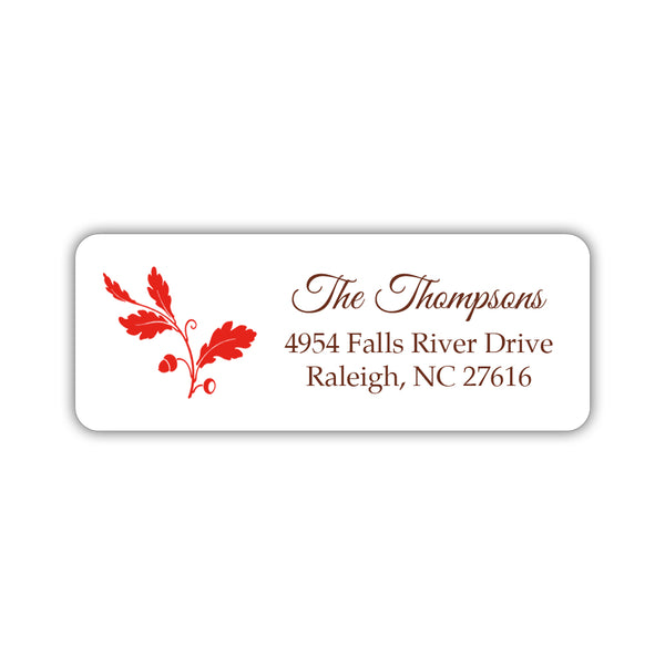 Fall address labels 'Acorn' - Red - Dazzling Daisies