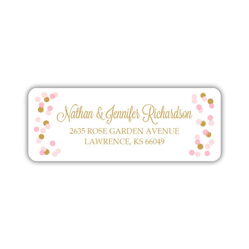 Return address labels 'Cheery Confetti' - Gold - Dazzling Daisies