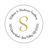 Round return address labels 'Whimsical Wish' - Gold - Dazzling Daisies