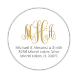 Round monogram return address labels - Gold - Dazzling Daisies