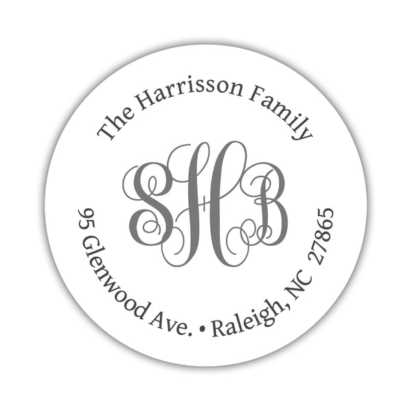 Round return address labels 'Monogrammed Perfection' - Gray - Dazzling Daisies