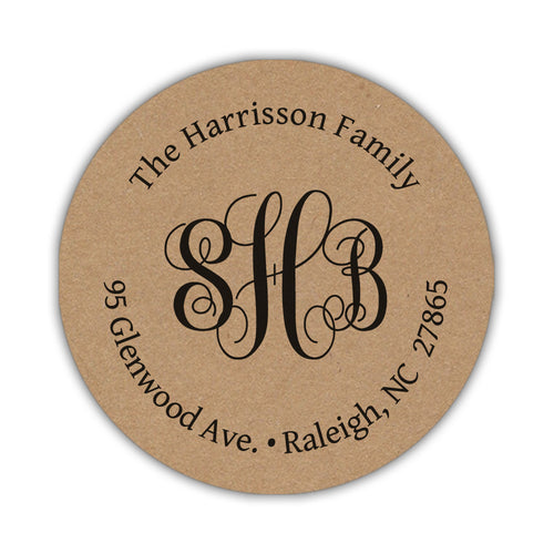 Kraft return address labels 'Classic Monogram' -  - Dazzling Daisies