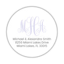 Round monogram return address labels - Lavender - Dazzling Daisies