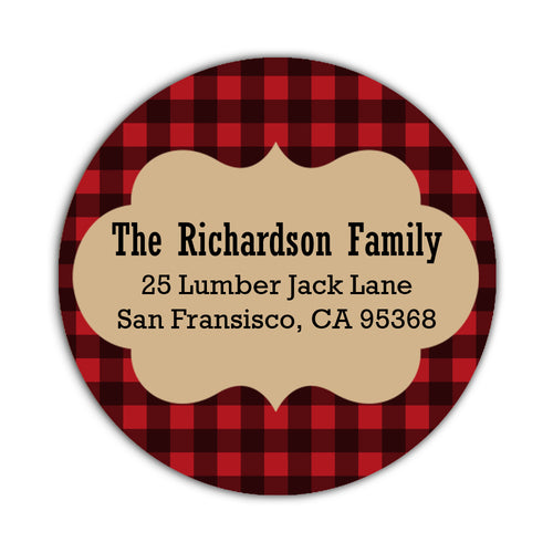 Holiday return address labels 'Lumberjack' -  - Dazzling Daisies