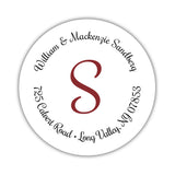 Round return address labels 'Whimsical Wish' - Maroon - Dazzling Daisies