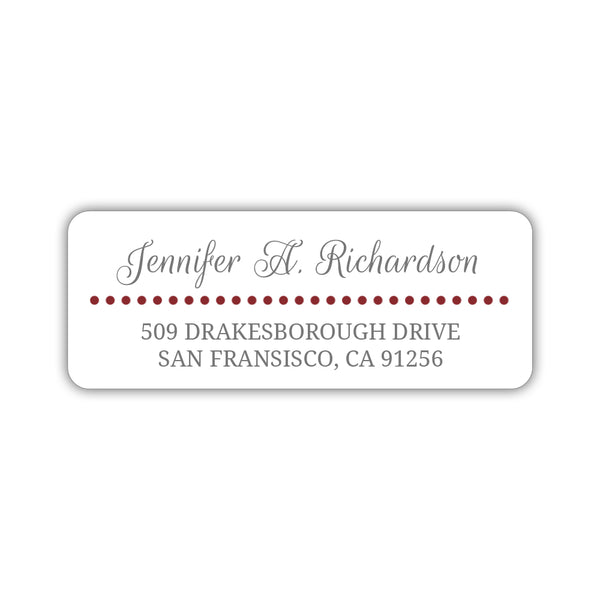 Return address labels 'Dots Galore' - Maroon - Dazzling Daisies