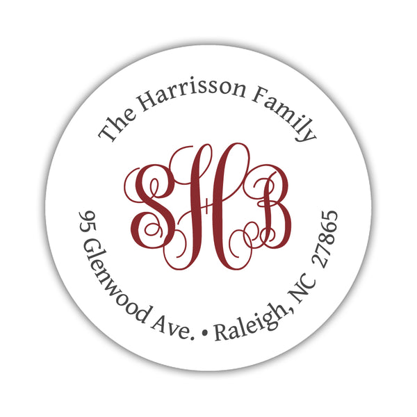Round return address labels 'Monogrammed Perfection' - Maroon - Dazzling Daisies