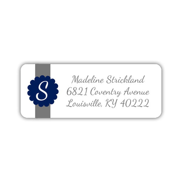 Return address labels 'Cigar Band' - Navy - Dazzling Daisies