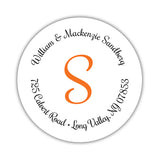 Round return address labels 'Whimsical Wish' - Orange - Dazzling Daisies