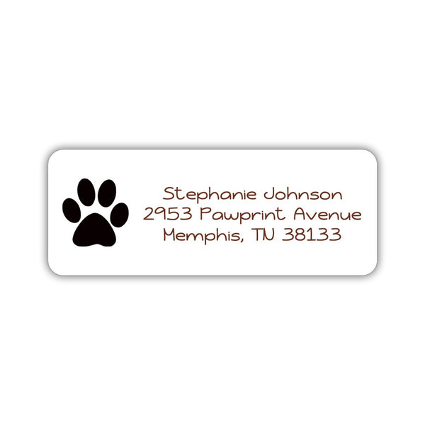 Return address labels 'Puppy Paw' - Black - Dazzling Daisies