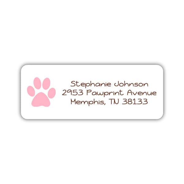 Return address labels 'Puppy Paw' - Pink - Dazzling Daisies