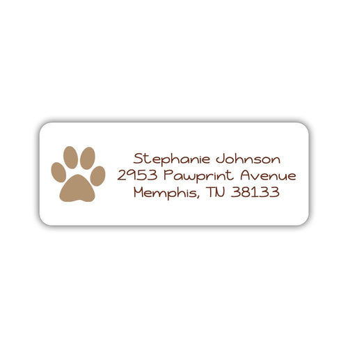 Return address labels 'Puppy Paw' - Sand - Dazzling Daisies