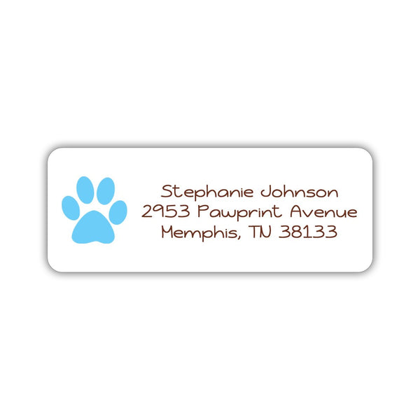 Return address labels 'Puppy Paw' - Sky blue - Dazzling Daisies