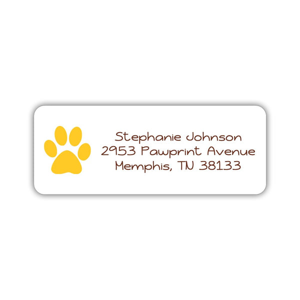 Return address labels 'Puppy Paw' - Yellow - Dazzling Daisies