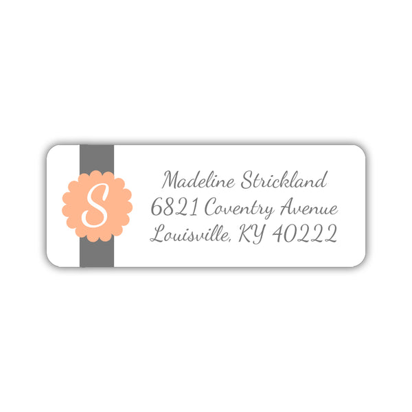 Return address labels 'Cigar Band' - Peach - Dazzling Daisies