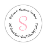 Round return address labels 'Whimsical Wish' - Pink - Dazzling Daisies