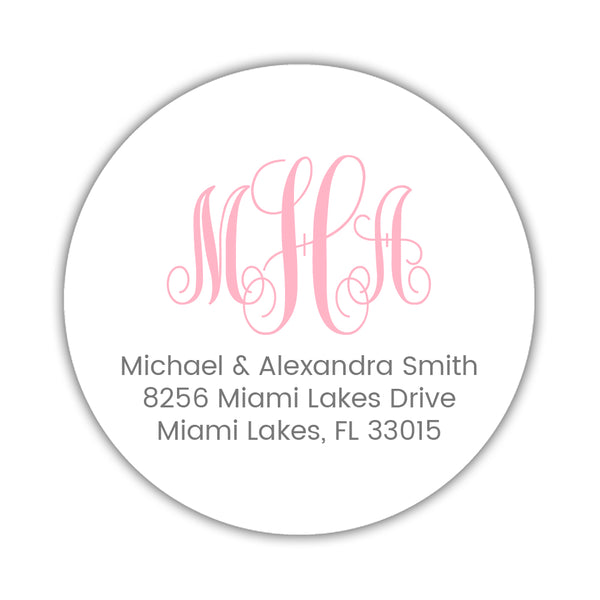 Round monogram return address labels - Pink - Dazzling Daisies