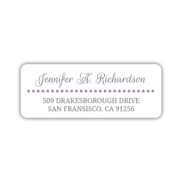 Return address labels 'Dots Galore' - Plum - Dazzling Daisies