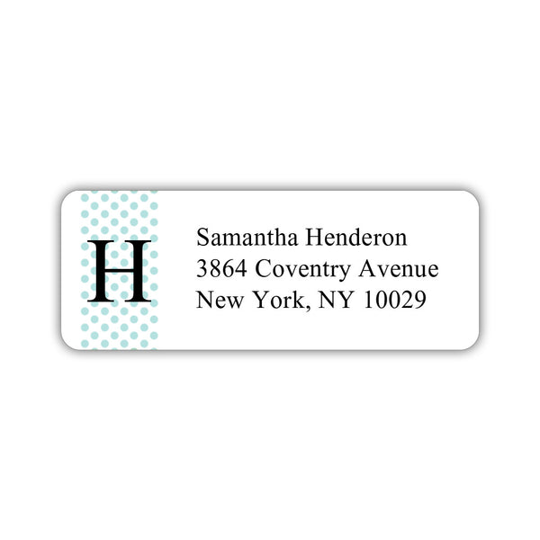 Return address labels 'Geometric Polka Dots' - Aquamarine - Dazzling Daisies