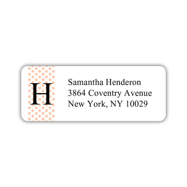 Return address labels 'Geometric Polka Dots' - Peach - Dazzling Daisies