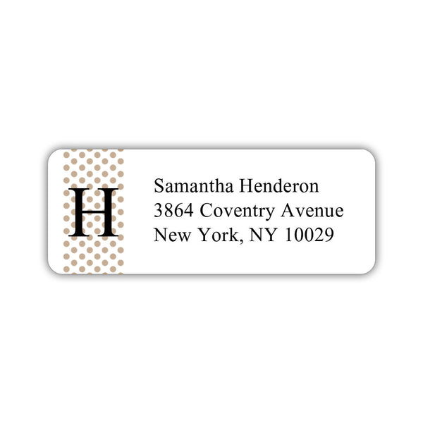 Return address labels 'Geometric Polka Dots' - Sand - Dazzling Daisies