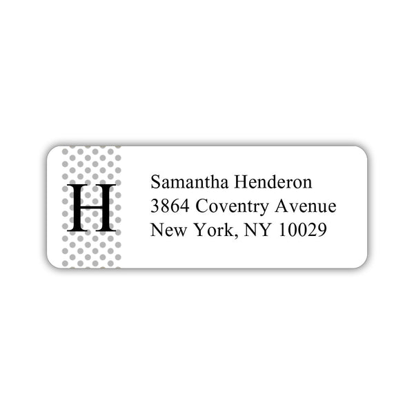 Return address labels 'Geometric Polka Dots' - Silver - Dazzling Daisies