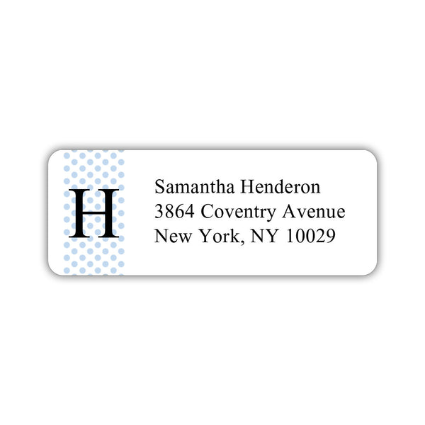 Return address labels 'Geometric Polka Dots' - Steel blue - Dazzling Daisies