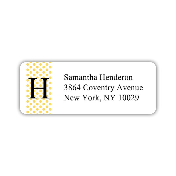 Return address labels 'Geometric Polka Dots' - Yellow - Dazzling Daisies