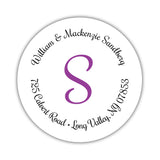 Round return address labels 'Whimsical Wish' - Purple - Dazzling Daisies