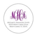 Round monogram return address labels - Purple - Dazzling Daisies