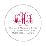 Round monogram return address labels - Raspberry - Dazzling Daisies