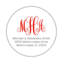Round monogram return address labels - Red - Dazzling Daisies