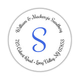 Round return address labels 'Whimsical Wish' - Royal blue - Dazzling Daisies