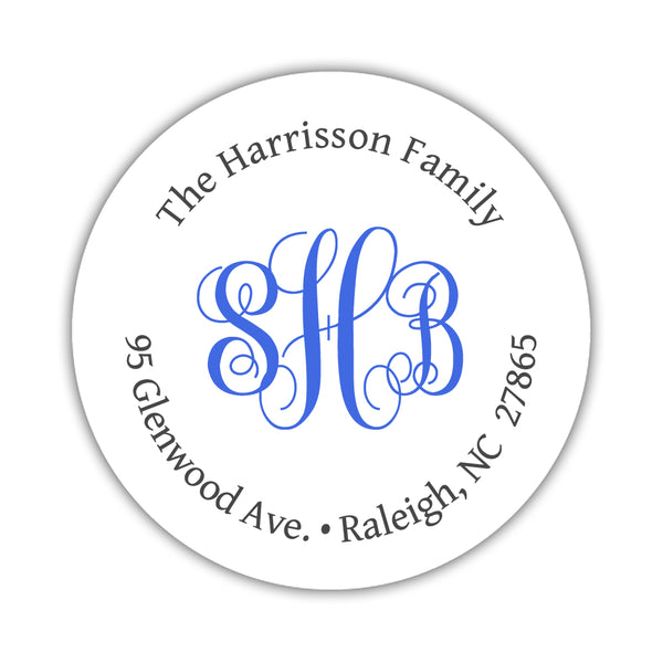 Round return address labels 'Monogrammed Perfection' - Royal blue - Dazzling Daisies