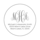 Round monogram return address labels - Silver - Dazzling Daisies