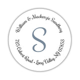 Round return address labels 'Whimsical Wish' - Slate - Dazzling Daisies