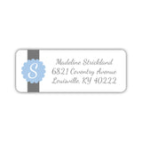 Return address labels 'Cigar Band' - Steel blue - Dazzling Daisies