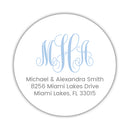 Round monogram return address labels - Steel blue - Dazzling Daisies