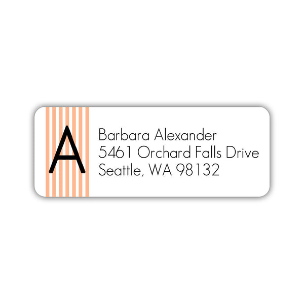 Modern address labels 'Clean Stripe' - Peach - Dazzling Daisies