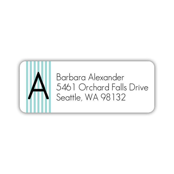 Modern address labels 'Clean Stripe' - Aquamarine - Dazzling Daisies