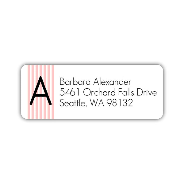 Modern address labels 'Clean Stripe' - Blush - Dazzling Daisies