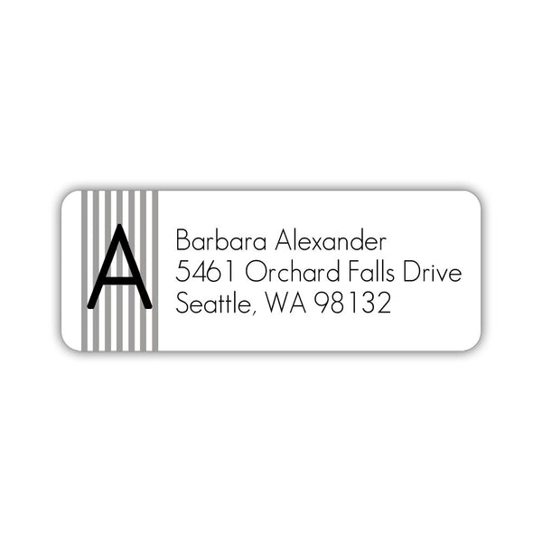 Modern address labels 'Clean Stripe' - Silver - Dazzling Daisies