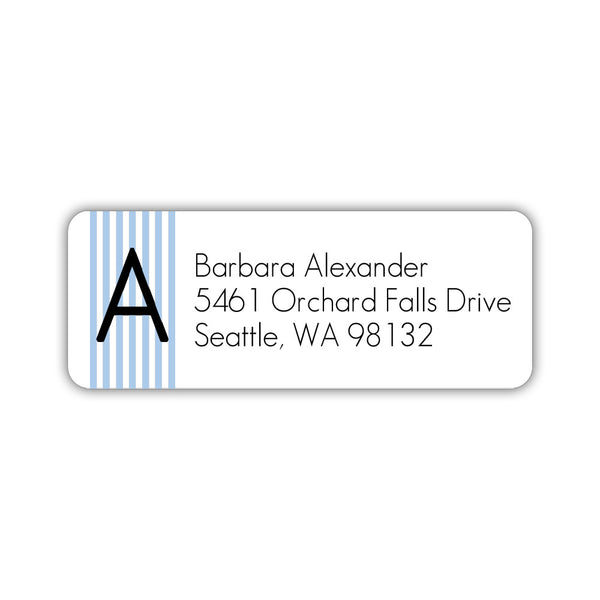 Modern address labels 'Clean Stripe' - Steel blue - Dazzling Daisies