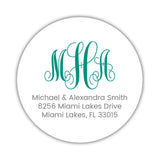 Round monogram return address labels - Teal - Dazzling Daisies