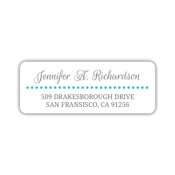 Return address labels 'Dots Galore' - Turquoise - Dazzling Daisies