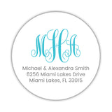 Round monogram return address labels - Turquoise - Dazzling Daisies
